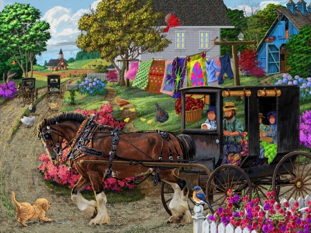 Amish Buggy Ride - farm, house, buggy, puzzle, amish