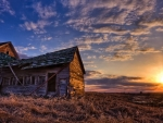 Old Cabin And Sunset