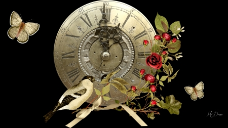 Time for Roses - bird, ribbon, flowers, clock, bow, butterflies, roses, floral