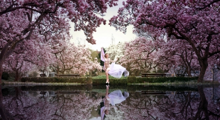 Spring Paradise - beauty, nature, reflection, sky, lake, cherry blossom trees, women