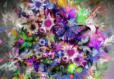 Springtime - flowers, colors, butterflies, blossoms, art