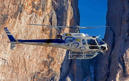 Helicopter in Mountains - mountains, helicopter, rocks, aircraft
