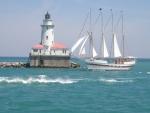 Lighthouse and Sailboat