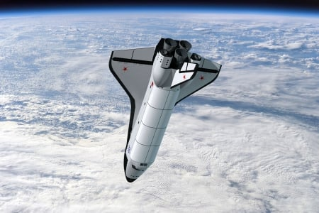 Russian Shuttle Above the Earth - russian, clouds, space, shuttle
