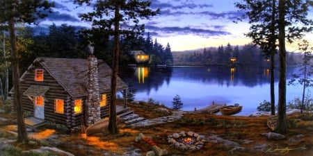 Life Rewards - paintings, lakes, summer, cabins, nature, sunsets, attractions in dreams, fire, houses, love four seasons