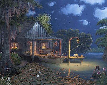 Bayou Moon - lamp, pier, cabin, clouds, sky, artwork, sea, boat, painting, flowers, dogs