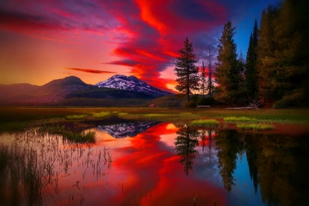 Fiery sunset - amazing, sunset, sky, beautiful, reflection, fiery, lake