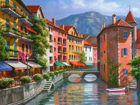 Apartments on the canal - art, canal, town, beautiful, Venice, boats, apartments, bridge, painting