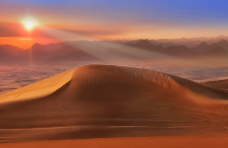 Sunset at the desert - amazing, nature, sunset, desert