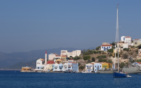 Town on Seashore - sailboat, sea, town, houses