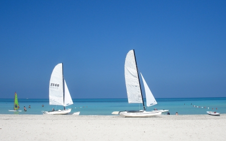 Sailboats in Cuba - Cuba, white, blue, sailboats