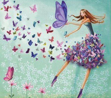 spring is here - art, fantasy, paintings, cool, illustrations, beauty, butterflies, drawings