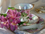 CUP AND SAUCER WITH FLOWERS