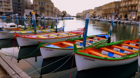 Colourful Boats - boat, canal, color, colour, river