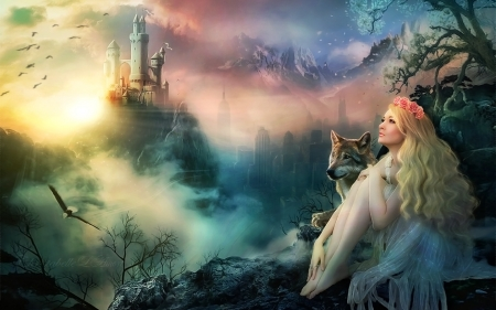 Dreams of The Past  - lovely, Princess, Softness, Fantasy girl, dreams, Mountains, enchanting, fantasy, magical, nature, wolf, castle