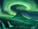 Waterfalls Under the Northern Lights