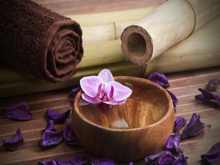 Spa still Life - Spa, Bamboo, Towels, Orchid