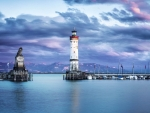 Lindau Lighthouse at Dusk,Germany