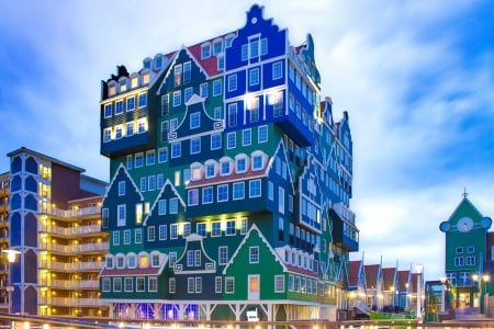 Amazing House - urban, amazing, houses, Amsterdam, HD, photography, blue, architecture, city