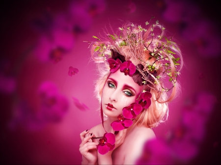 Orchid - fantasy, lilifilane, girl, model, orchid, face, creative, pink