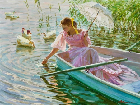 Summer - umbrella, swan, boat, vara, painting, pink, parasol, pictura, blue, art, luminos, lake, aleksandr averin, water, girl, bird, summer, white