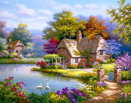 Swan cottage - art, house, cottage, beautiful, spring, swan, lake, Sung kim, countryside, pond, serenity, painting, peaceful, village
