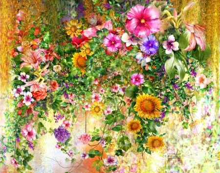 Cascades of Flowers - flowers, color, cascades, water, puzzles