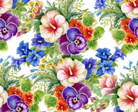 Floral Pattern - puzzle, blue, hibiscus, green, flowers, pinks