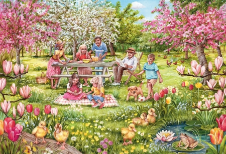 Picinic in the Flower Park - puzzle, parents, playing, flowering, trees