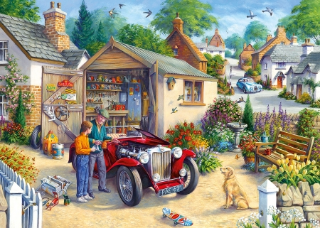 Tender Loving Care - grandson, togather, time, car, puzzle, old, grandfather