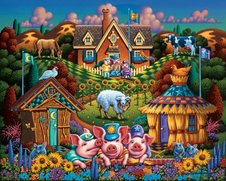 Three Little Pigs - folk, three, puzzle, pigs, art