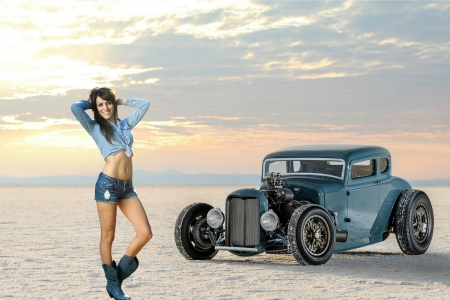 Cowgirl and a '32 Ford Hotrod - hotrod, cowgirl, ford, car