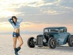 Cowgirl and a '32 Ford Hotrod