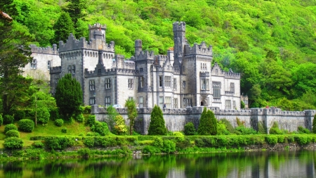 Kylemore Castle - forest, castle, lake, nature, reflection