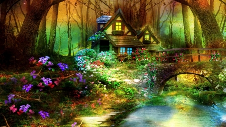 Magic Forest - cottage, bridge, forest, house, flowers, river, trees, nature