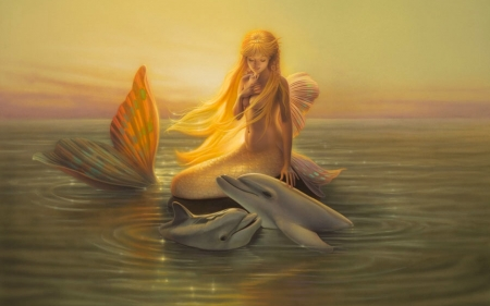 Dolphin Friends - dolphins, ocean, mermaid, Fantasy, Sunset, sea