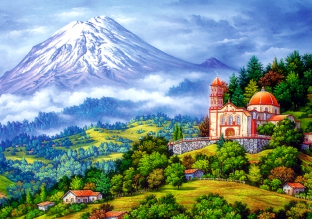 Landscape with Volcano - villages, architecture, love four seasons, attractions in dreams, volcano, paintings, churches, landscapes, mountains, nature