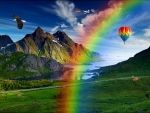 Rainbow with Hot Air Balloon