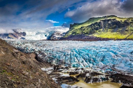 Icelandic Glacier - mountains, ice, clouds, sky, northern, landscape