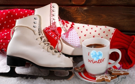 I Love Winter - Ice Skate, Red, Coffee, White, Cookies, Gingerbread, Boots, Winter