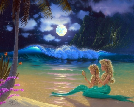 Moon Beach Mermaids - moons, love four seasons, attractions in dreams, waves, sea, fantasy, paintings, paradise, beaches, summer, mermaids, seaside, nature