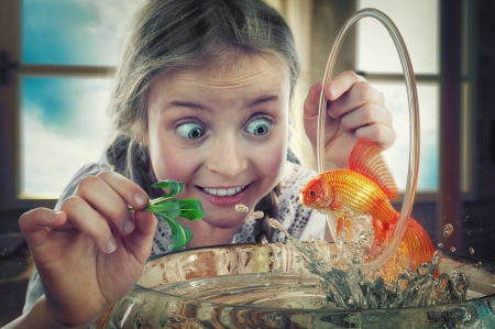 The fishtrainer - john wilhelm, orange, fish, golden, trainer, situation, vara, girl, summer, copil, child, funny, eyes