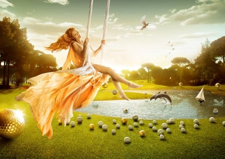 ♥ - frumusete, orange, situation, dolphin, fantasy, water, vara, girl, green, swing, golf, summer, funny, field