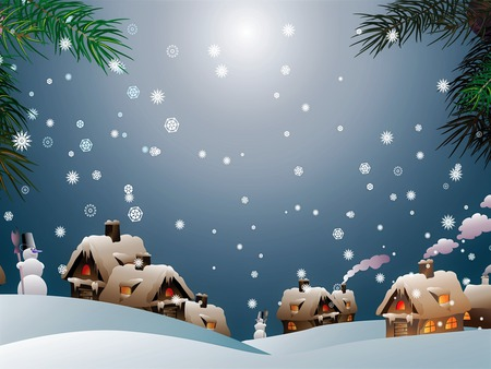 Snowman Village - village, snow, holiday, christmas, winter, snowman, houses, smoke, snowflakes, snowmen, painting