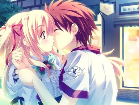 Anime Kiss - boy, girl, anime, kiss, school uniform