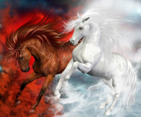 Beautiful Horses - two, colorful, fantasy horses, white, abstract, red, power, animals, horse, love, fire, fantasy horse, colors, nice, smoke, beauty, beautiful, lovely, fantasy, horses, white horse, clouds, pretty, in clouds