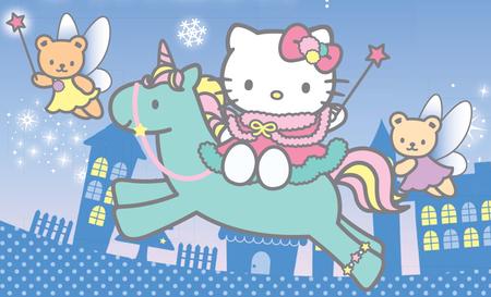 Faery Hello Kitty Rides Unicorn Hello Kitty Anime Background