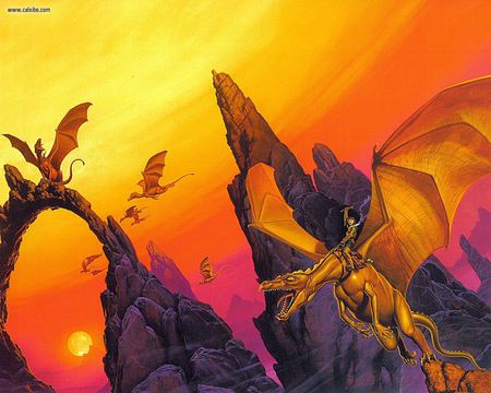 Moreta - sunset, fantasy, orange, michael whelan, abstract, dragons, rocks