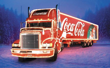 Christmas Coca-Cola - red, art, coke, christmas, tractor trailer, cars, coke truck, coca-cola, digital, coca cola, truck