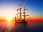 pirate ship in the sea at sunset